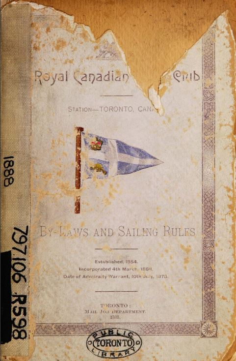 Old  damaged cover of the RCYC by laws and Sailing Rules