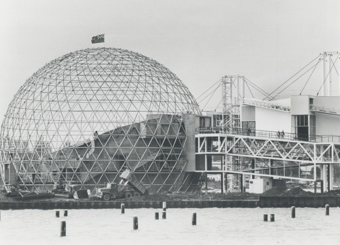 1970 photo Cinesphere construction in progress at Ontario Place