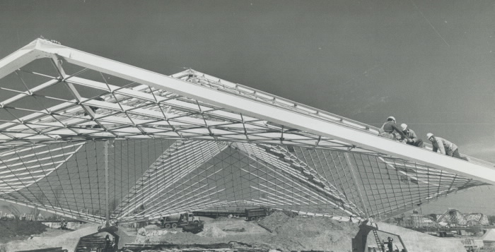 1971 photo The Forum during construction hyperbolic paraboloid positioned on cement bastions Ontario Place