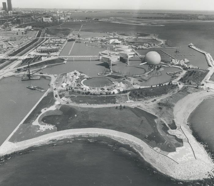 1971 photo aerial view of Ontario Place looking eastward