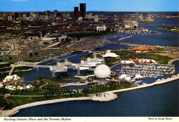 Vintage postcard circa 1970s Exciting Ontario Place Toronto Ontario and the Toronto Skyline photo by George Hunter