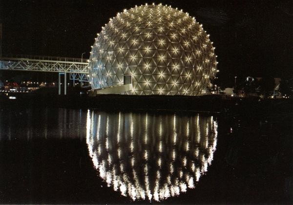 Vintage postcard circa 1970s night view illuminated Cinesphere  Ontario Place Toronto Ontario