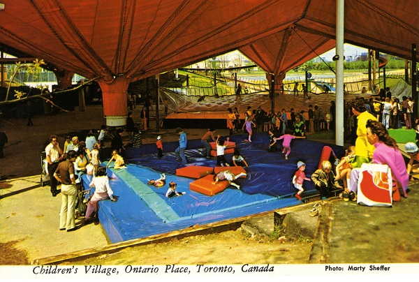 Vintage postcard circa 1970s Children's Village under the orange tents Ontario Place Toronto Ontario photo by Marty Sheffer