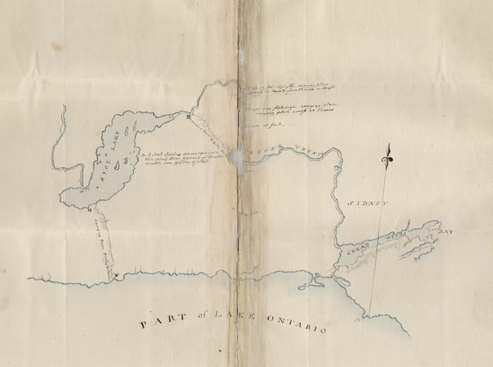 1792 Map of the North Shore of Lake Ontario  the Trent River  and Rice Lake