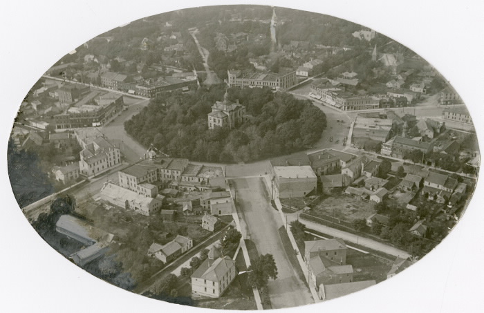 1950 Aerial view of Goderich showing central round area Toronto Star Photograph Archive