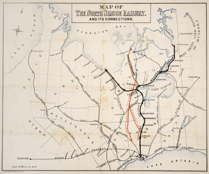 1877 Map of the North Simcoe Railway  and its connections