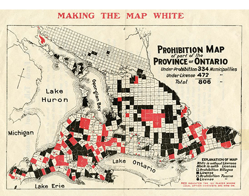 Map of southern Ontario divided into municipalities color coded to show which places had probibition  didn't have prohibition