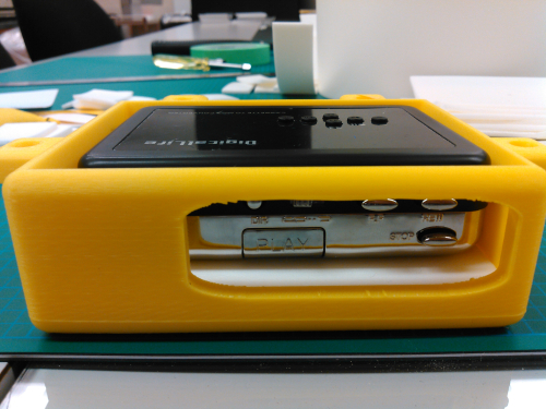 "3D printed yellow ""walkman"" holder"