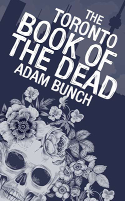 Book cover with flowering skull and Toronto skyline