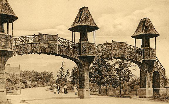 Sepia image of arching bridge