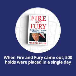 When Fire and Fury came out, 500 holds were placed in a single day