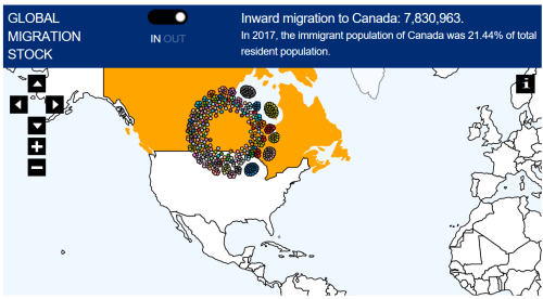 Inward migration to Canada 2017