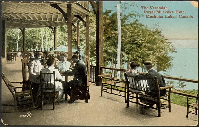 The Verandah at the Royal Muskoka Hotel by the Muskoka Lakes in 1910