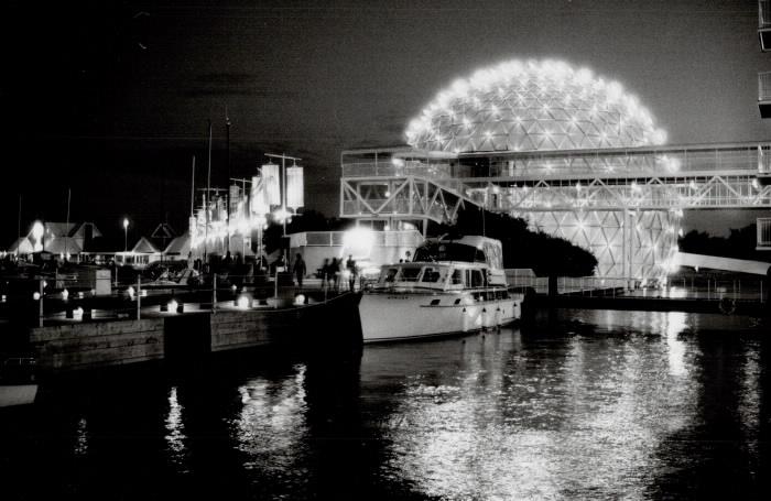 1984 photo Cinesphere Ontario Place at night
