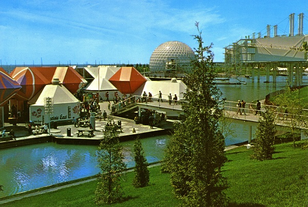 Vintage postcard circa 1970s Ontario Place showing geometric colorful retail restaurant pods