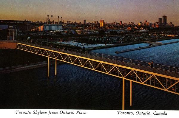 Vintage postcard circa 1980s Toronto Skyline from Ontario Place view of bridge
