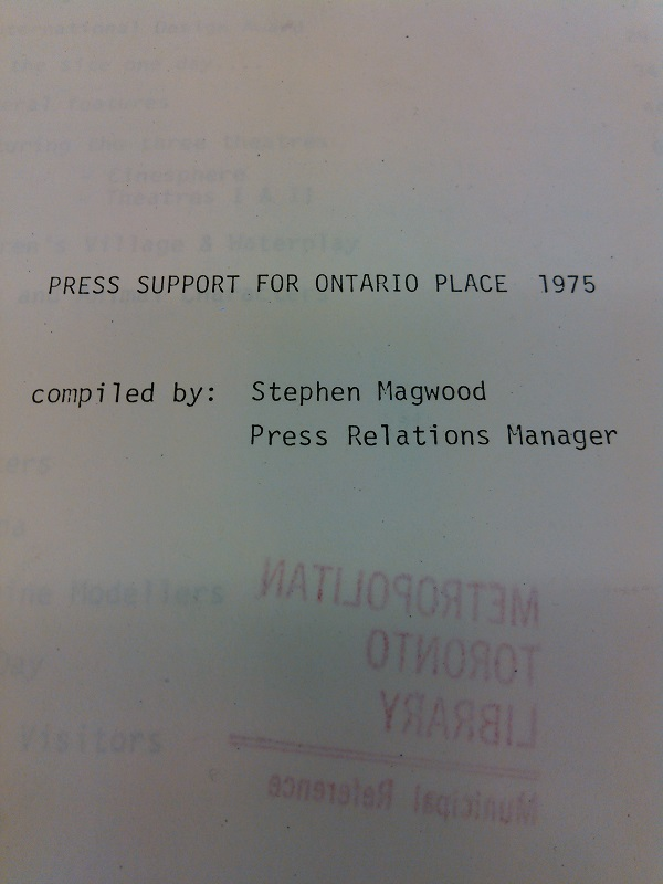 Press Support for Ontario Place compiled by Stephen Magwood