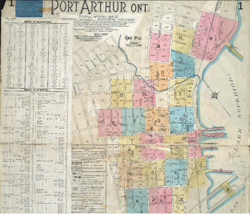 Port Arthur Fire Plan 1908 close up (see full pdf in link)