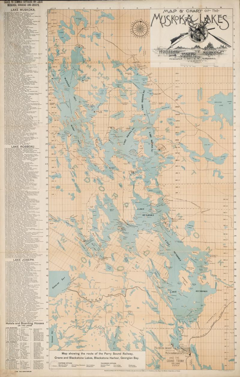 1899 Map & chart of the Muskoka Lakes including Rosseau  Joseph  Muskoka