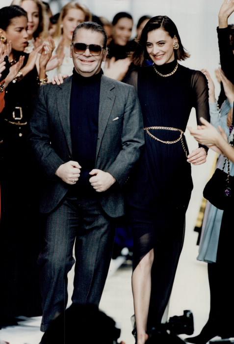 Designer Karl Lagerfeld with Chanel house model Ines de La Fressarge Toronto Star Photo Archives  photographer Bernard Weil
