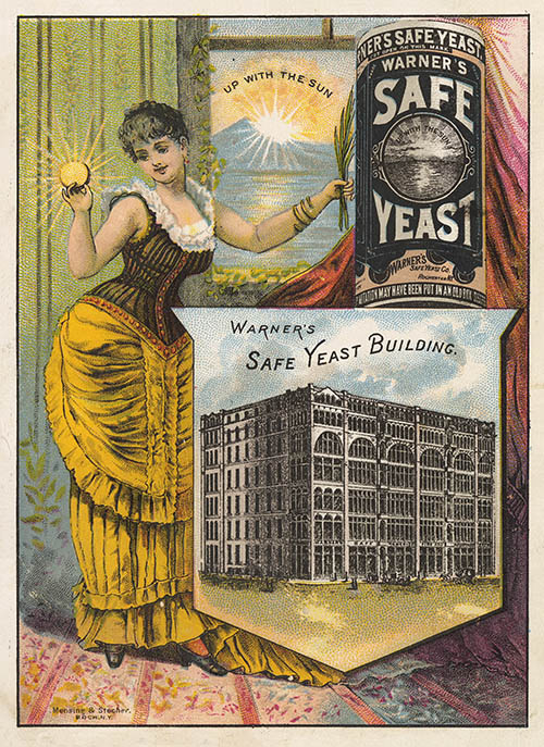 Yeast advertisement with a woman and packaging as well as building with text that reads Warner's Safe Yeast Building