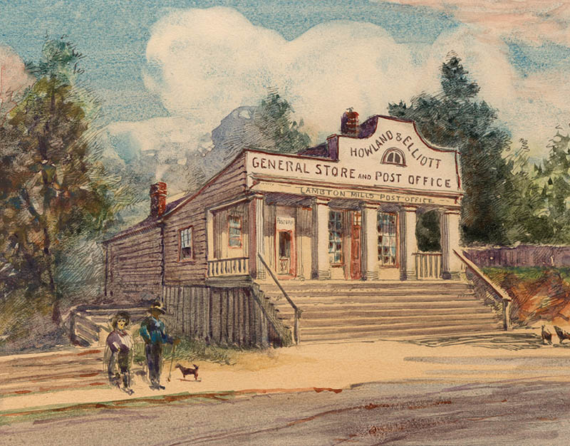 Painting of Howland and Elliott General Store and Post Office with two hikers and dog standing outside