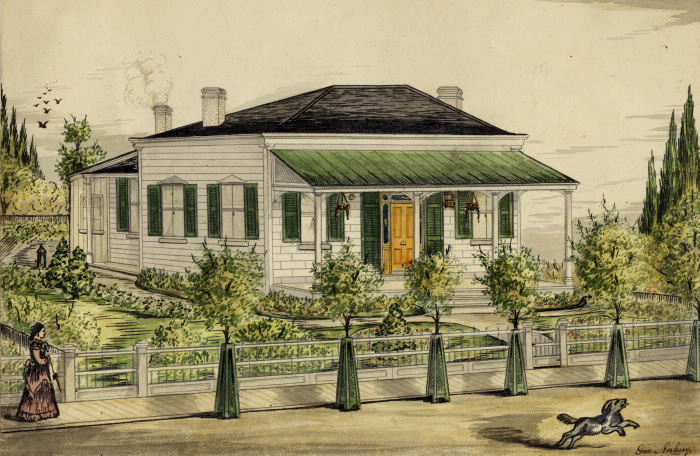 Watercolour illustration of a white house and a lady and dog just outside the property