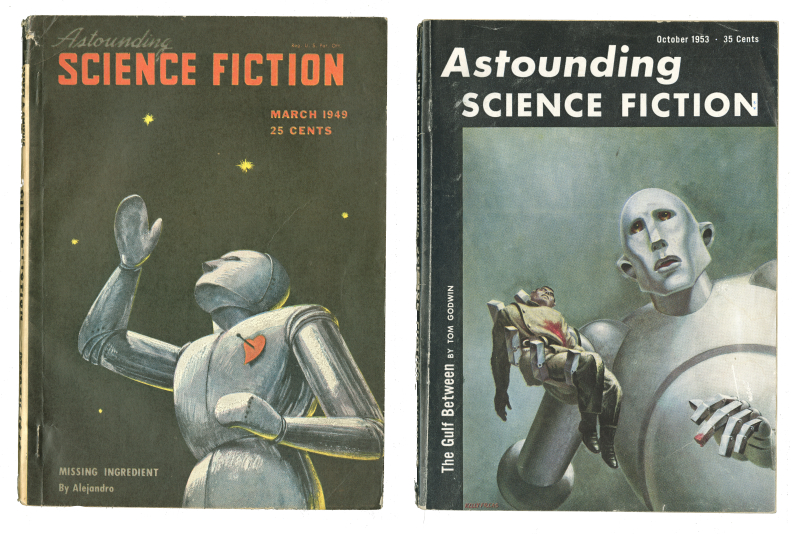 Two covers of Astounding Science fiction publications with one robot with a heart pinned to its chest and another robot holding a dead man