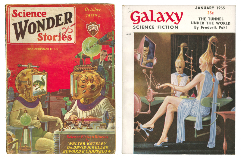 Two book covers of pulp magazines one with a helmet that has a video screen projecting out and another one with a woman video conferencing with a man