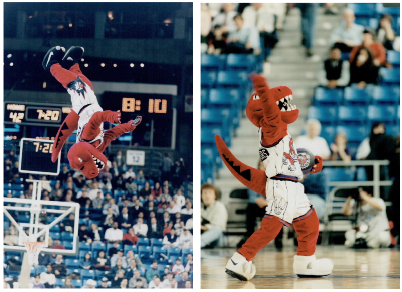 Side by side photos one with mascot mid air doing flip and another with the mascot on the court with fist raised