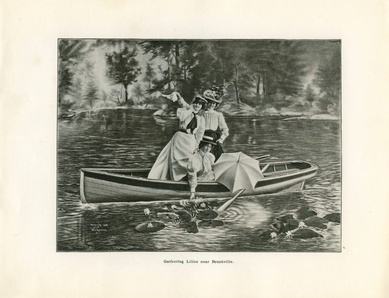 Inset black and white image of three women in vintage clothing on canoe with umbrellas