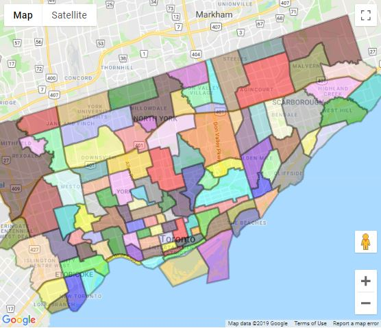 Toronto neighbourhoods map