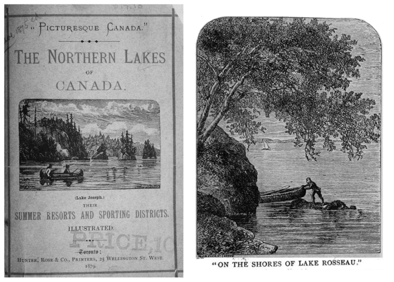 Book cover with title and publishing information and an inset print of two people in a canoe on a lake and another image of a man pulling canoe from shore with caption reading on the shores of Lake Rosseau