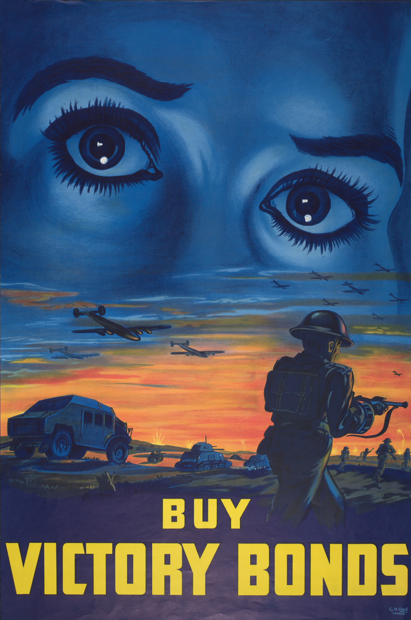 Poster of large concerned female eyes above a battle field and the words Buy Victory bonds