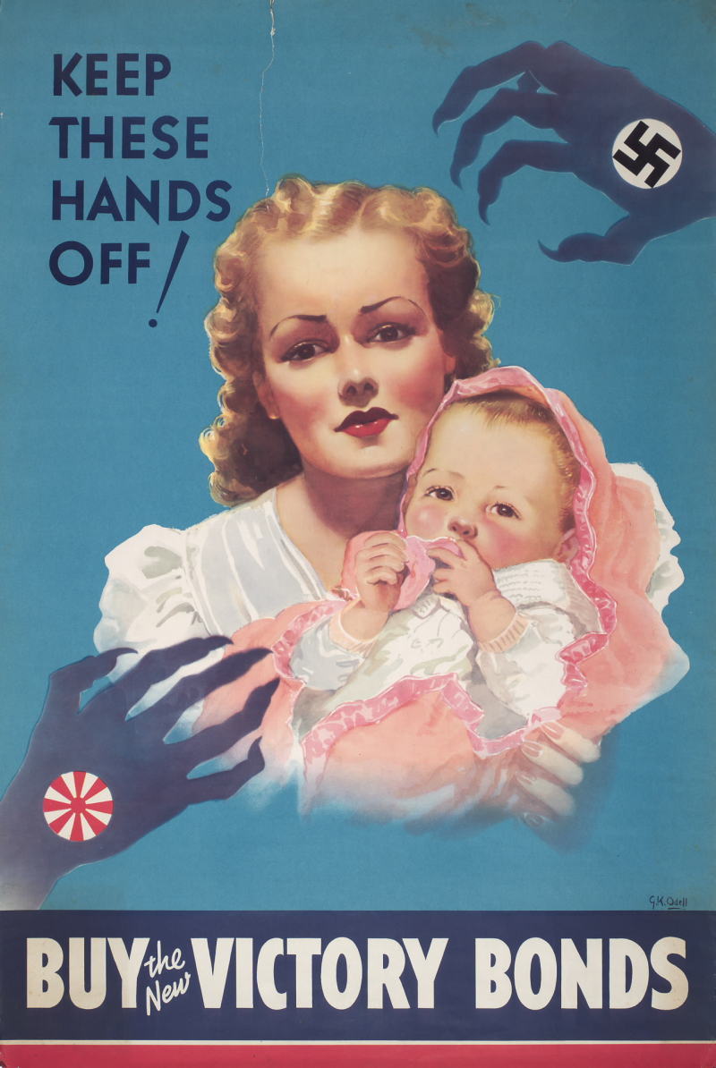 Poster with image of young woman holding baby with menacing hands wit swastika looming over them and the words Keep these hands off! Buy the new Victory Bonds