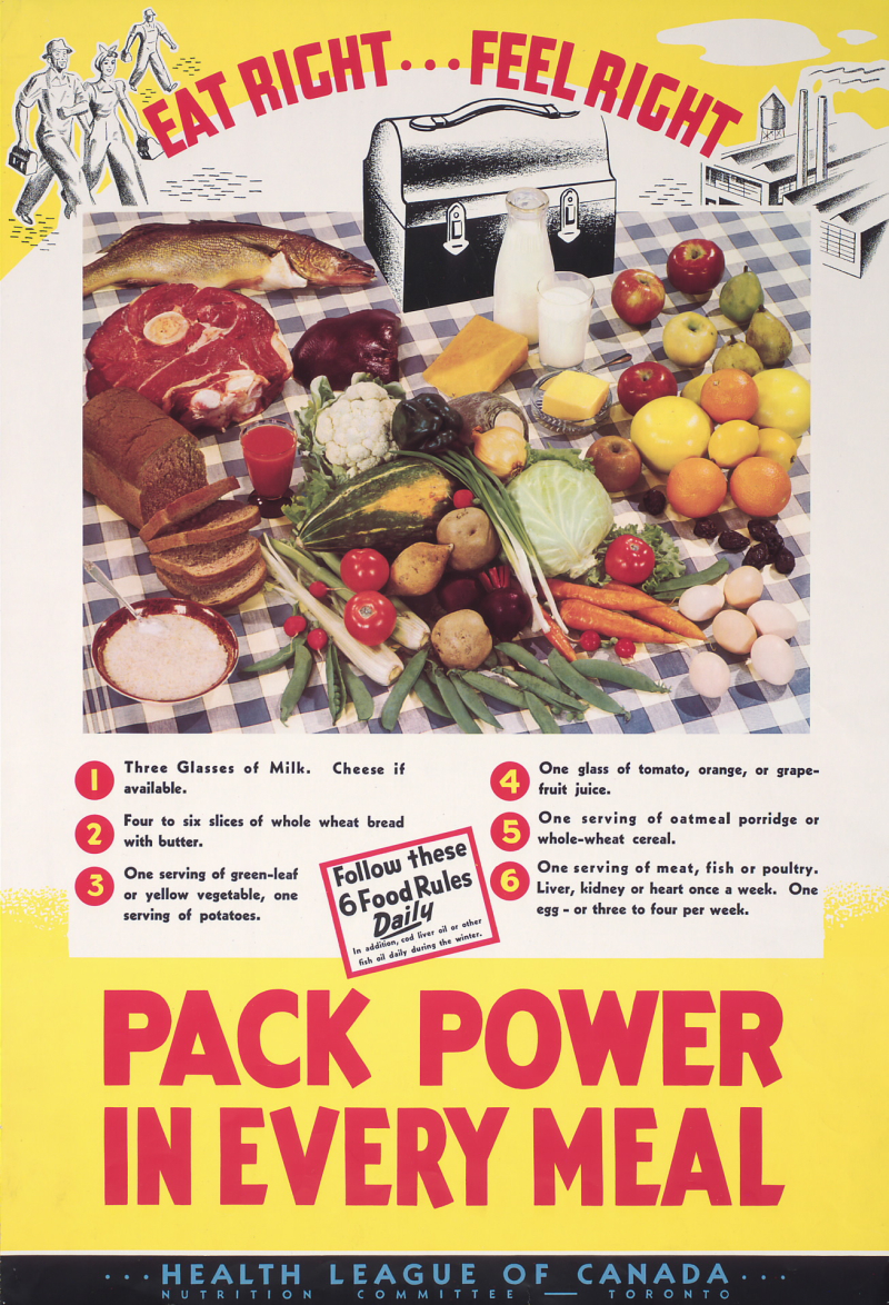 Poster reading Eat Right  Feel Right, with tips on how to pack power in every meal and a picnic spread of food and a lunch box