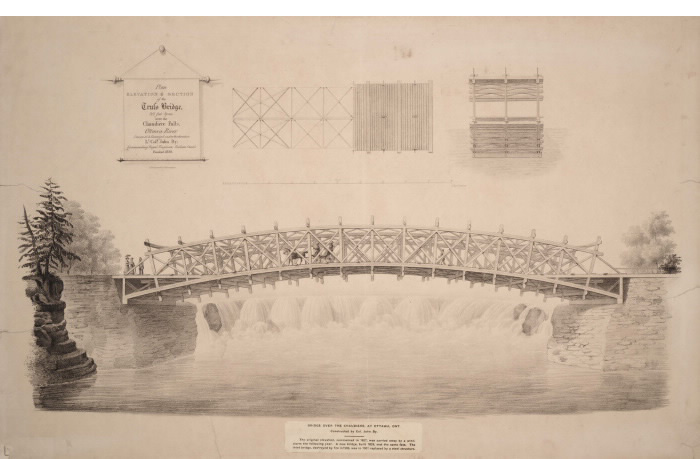 Detailed outline of a detailed wooden bridge over a waterfall