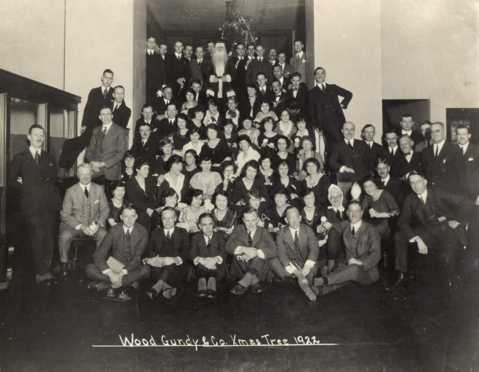 1922 vintage Xmas photo Wood  Gundy & Company  offices  King St. W