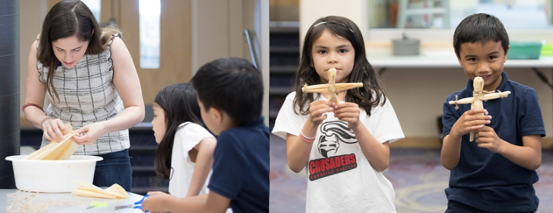 Children making corn husk dolls during one of Broti's programs for Indigenous Day at the S. Walter Stewart Branch