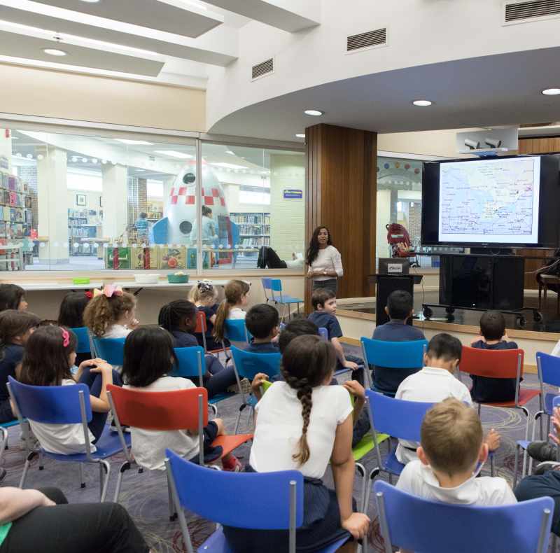 Broti presenting to a group of grade 2 and 3 students at the S. Walter Stewart Branch