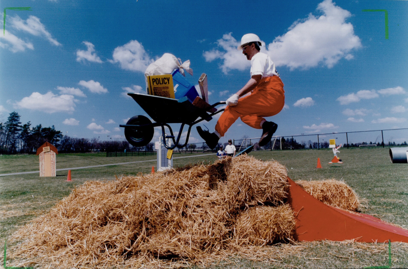 Ontario Digital Archive: Jo Scarfone in barrow race Richmond Hill's agricultural spring fair