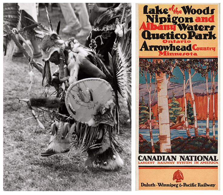 Photo of man dancing in traditional outfit with wolf head and a different image of an illustrated brochure of Canadian National railway system that reads Lake of the Woods Nipigon and Albany Waters Quetico Park Ontario Arrowhead Country Minnesota