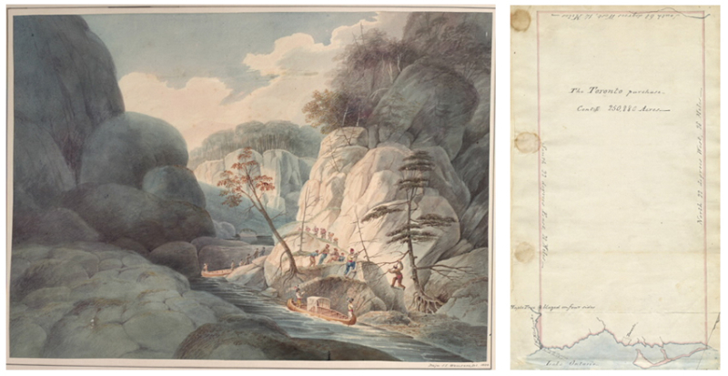 Two images side by side  one of an illustration of a river in a valley with canoes and travellers and the other image showing a map with a large rectangle of empty space