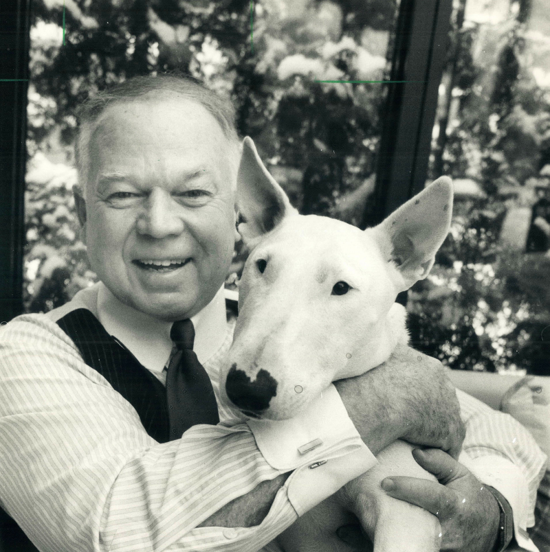 Don Cherry and his English bull terrier,Blue, 1989
