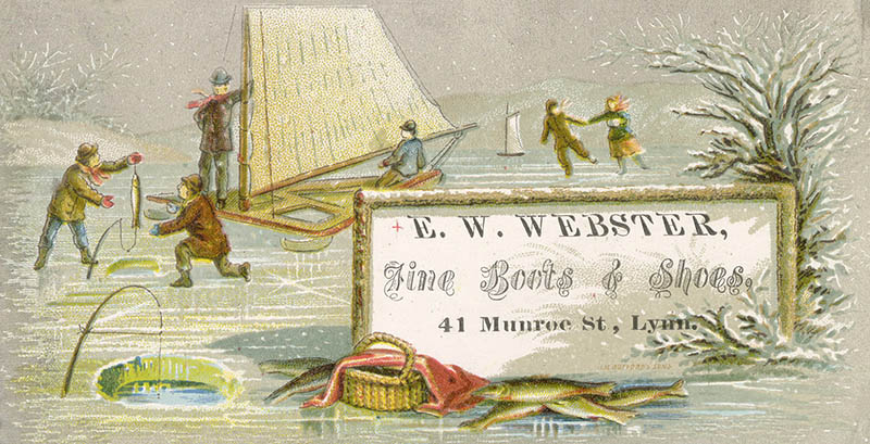Illustrated card of winter scene with text advertising e w webster fine boots and shoes  41 munroe st  Lynn