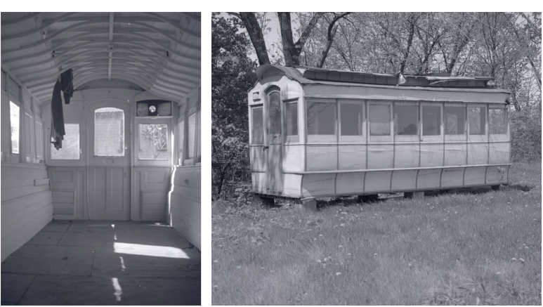 One image of inside a renovated empty streetcar and one image of the exterior of a streetcar in a grassy area