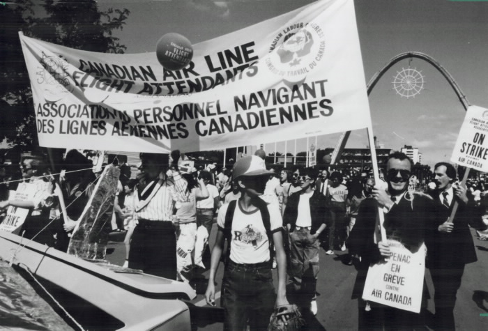 1985 Labour Day Parade Members of the Canadian Air Line Flight Attendants Association which represents 3 200 attendants on strike against Air Canada  receive shouts of encouragement from spectators watching yesterday