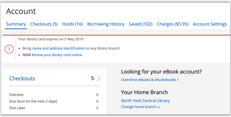 Account screen showing the option to renew a library card online