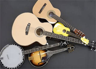 Acoustic instruments laid out on the floor