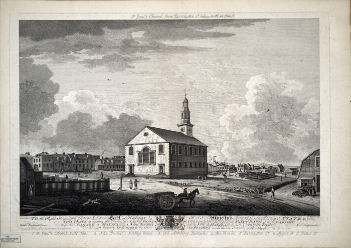 Black and white drawing of a chuch with people and a dog walking around the surrounding area